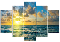 Blue Ocean Sky <h2>5 Panel Ocean Panorama Vinyl Photography Print</h2>