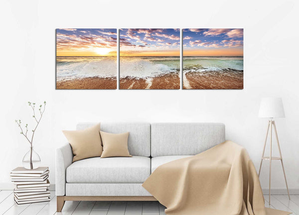 Crashing Waves <h2>3 Panel Ocean Panorama Canvas Photography Print</h2>