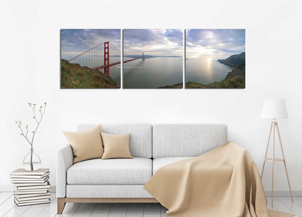 Golden Gate Bridge (Color) <h2>Frameless 3 Panel Cityscape Panorama Vinyl Photography Print</h2>