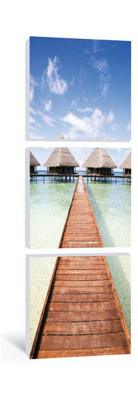 Maldives Bungalows Vertical Triptych