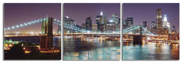 Downtown Manhattan & Brooklyn Bridge at Night
