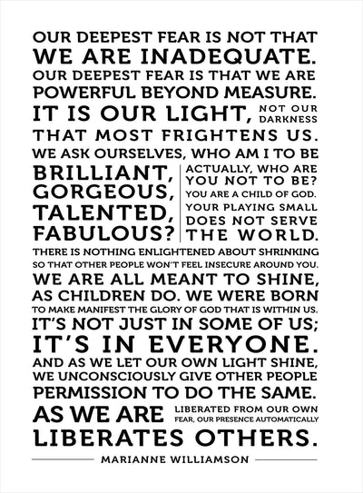 Our Deepest Fear - Quote on Canvas - Inspirational Quote Canvas Wall Art