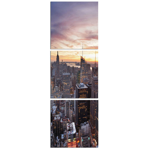 New York Sunset Vertical Triptych