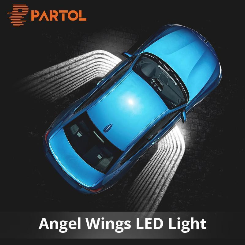 Partol 2Pcs Angel Wings Car Welcome Light Shadow Light Projector
