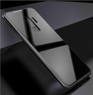 2019 New Fashion Magnetic Adsorption Transparent Glass Cover Phone Case - FOR SAMSUNG