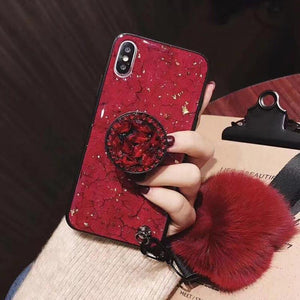 2019 [IPhone] New Fashion Fiber Soft Fur ball Diamond pop socket