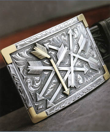 "Clint Orms BEXAR 1800 Trophy Belt Buckle 3.5"" x 2.3"""