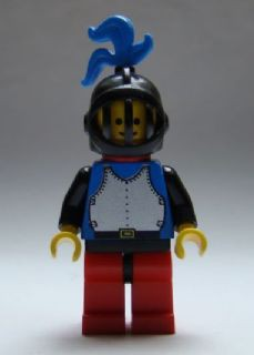Breastplate - Blue with Black Arms, Red Legs with Black Hips, Black Grille Helmet, Blue Plume, Cape