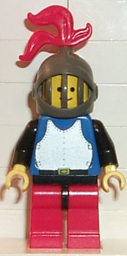 Breastplate - Blue with Black Arms, Red Legs with Black Hips, Dark Gray Grille Helmet, Red Plume