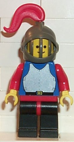Breastplate - Blue with Red Arms, Black Legs with Red Hips, Dark Gray Grille Helmet, Red Plume