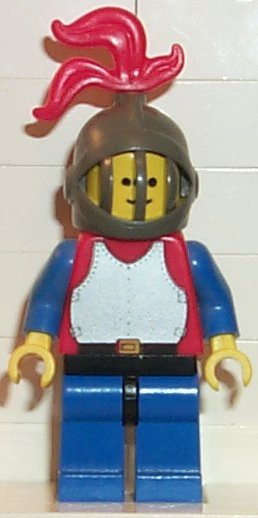 Breastplate - Red with Blue Arms, Blue Legs with Black Hips, Dark Gray Grille Helmet, Red Plume