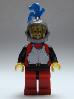 Breastplate - Red with Black Arms, Red Legs with Black Hips, Dark Gray Grille Helmet, Blue Plume, Blue Cape