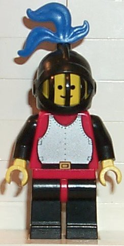 Breastplate - Red with Black Arms, Black Legs with Red Hips, Black Grille Helmet, Blue Plume