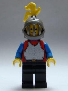 Breastplate - Red with Blue Arms, Black Legs, Dark Gray Grille Helmet, Yellow Plume, Blue Cape