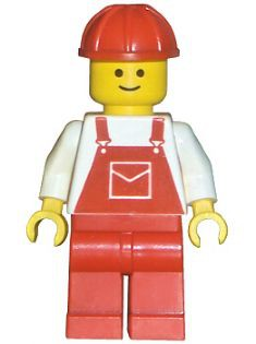 Overalls Red with Pocket, Red Legs, Red Construction Helmet