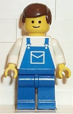 Overalls Blue with Pocket, Blue Legs, Brown Male Hair