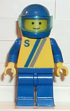 'S' - Yellow with Blue / Gray Stripe, Blue Legs, Blue Helmet