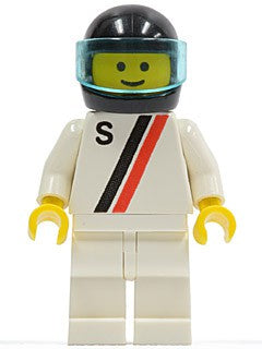 'S' - White with Red / Black Stripe, White Legs, Black Helmet, Trans-Light Blue Visor