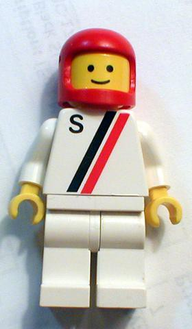 'S' - White with Red / Black Stripe, White Legs, Red Classic Helmet