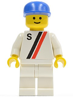 'S' - White with Red / Black Stripe, White Legs, Blue Cap