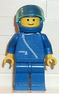 Jacket with Zipper - Blue, Blue Legs, Blue Helmet, Trans-Light Blue Visor