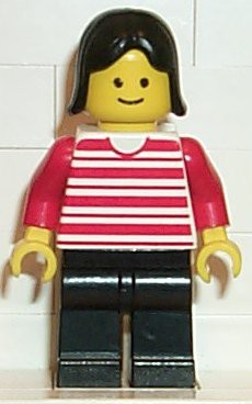 Horizontal Lines Red - Red Arms - Black Legs, Black Female Hair