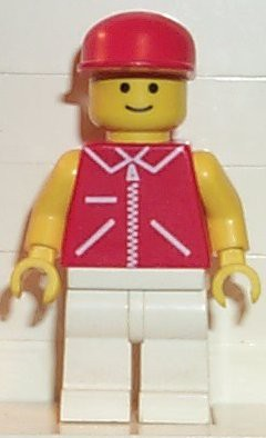 Jacket Red with Zipper - Yellow Arms - White Legs, Red Cap