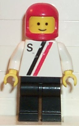 'S' - White with Red / Black Stripe, Black Legs, Red Classic Helmet