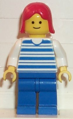Horizontal Lines Blue - White Arms - Blue Legs, Red Female Hair