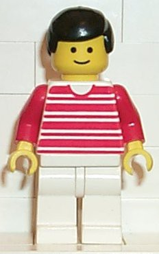 Horizontal Lines Red - Red Arms - White Legs, Black Male Hair