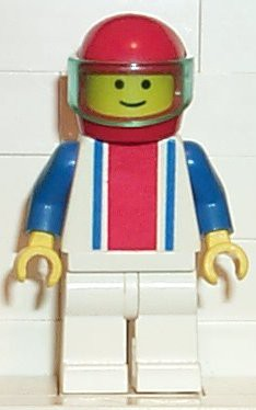 Vertical Lines Red & Blue - Blue Arms - White Legs, Red Helmet, Trans-Light Blue Visor