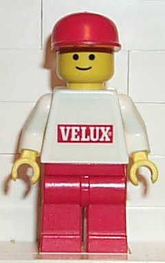 Velux Sticker on White Torso, Red Legs, Red Cap