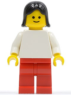 Plain White Torso with White Arms, Red Legs, Black Female Hair