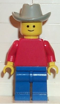 Plain Red Torso with Red Arms, Blue Legs, Light Gray Cowboy Hat