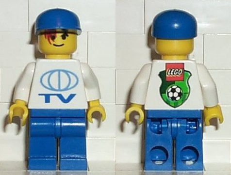 TV Logo Large Pattern on Front, Lego Soccer Logo on Back, Blue Legs, Blue Cap