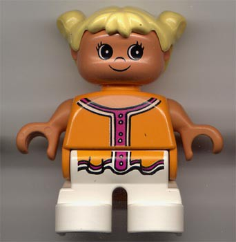 Duplo Figure, Child Type 2 Girl, White Legs, Orange and Dark Pink Top , Yellow Hair Pigtails