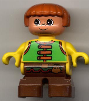 Duplo Figure, Child Type 2 Boy, Brown Legs, Green Vest with Brown Straps and Belt with Sash