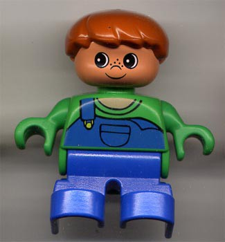 Duplo Figure, Child Type 2 Boy, Blue Legs, Green Top with Blue Overalls with one Strap
