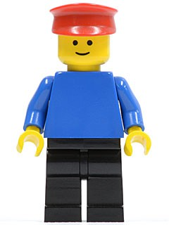 Plain Blue Torso with Blue Arms, Black Legs, Red Hat