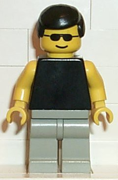 Plain Black Torso with Yellow Arms, Light Gray Legs, Sunglasses, Black Male Hair