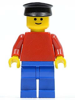 Plain Red Torso with Red Arms, Blue Legs, Black Hat