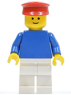Plain Blue Torso with Blue Arms, White Legs, Red Hat