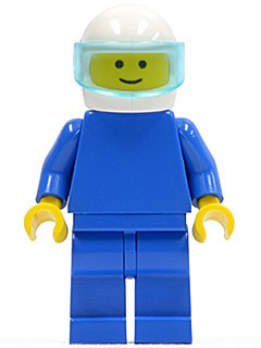 Plain Blue Torso with Blue Arms, Blue Legs, White Helmet, Trans-Light Blue Visor