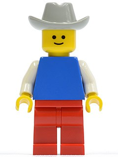 Plain Blue Torso with White Arms, Red Legs, Light Gray Cowboy Hat