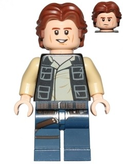 Han Solo, Dark Blue Legs, Vest with Pockets, Wavy Hair