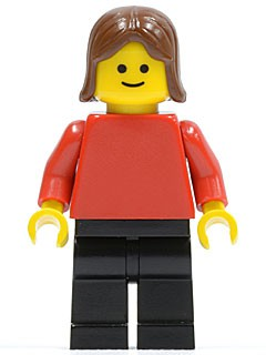 Plain Red Torso with Red Arms, Black Legs, Brown Female Hair