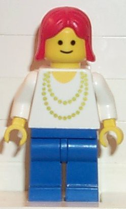 Necklace Gold - Blue Legs, Red Female Hair