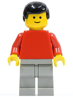Plain Red Torso with Red Arms, Light Gray Legs, Black Male Hair
