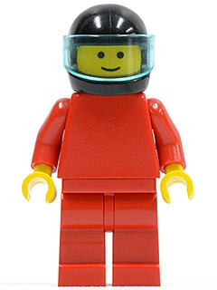Plain Red Torso with Red Arms, Red Legs, Black Helmet, Trans-Light Blue Visor