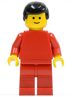 Plain Red Torso with Red Arms, Red Legs, Black Male Hair
